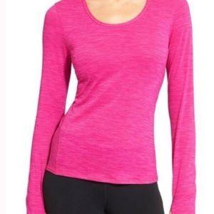 Athleta shadow stripe chi top long sleeve hot pink